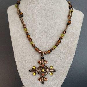 Multi bead pendant necklace